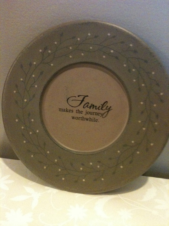 Upcycled frame with added poem Modern Home Decor Decorative Plate /Family poem charger plate shabby chic cottage chic country tan brown