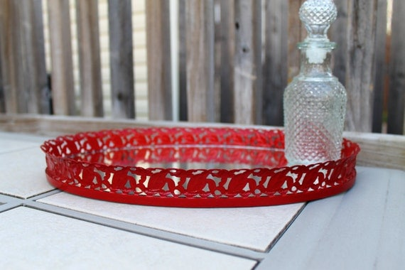 Upcycled Vintage Vanity Tray Red country cottage shabby chic gothic hollywood regency filigree