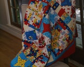 Thomas the Train Toddler Quilt with custom monogram Drew for Stephanie