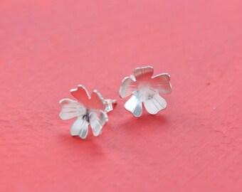 Sterling Silver Apple Tree Blossom Flower Post Earrings