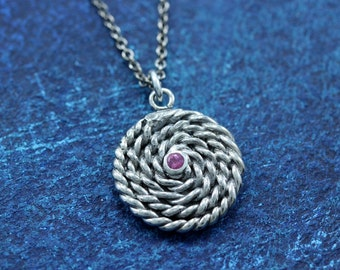 READY TO SHIP Sterling Silver Nautical Large Rope Coil Charm with Tourmaline and 16 in chain