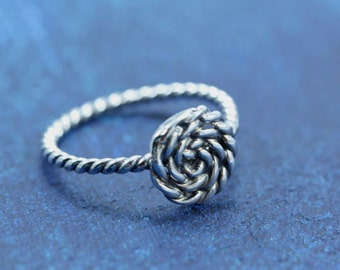 READY TO SHIP Sterling Silver Nautical Rope Coil Ring Size 7.5