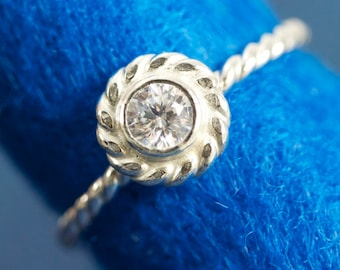 Nautical Rope Solitaire Sterling Silver Engagement Ring