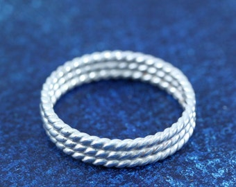 Nautical Rope Sterling Silver Wedding Band RIng