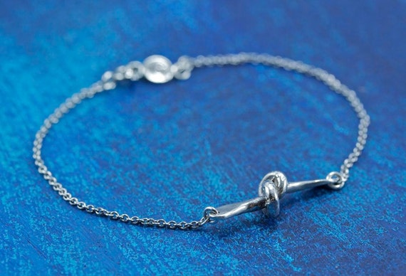 READY TO SHIP Sterling Silver Nautical Tie The Knot Bracelet