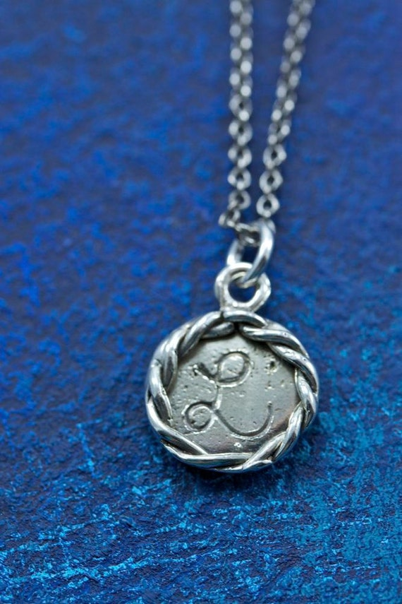 """READY TO SHIP Sterling Silver """"L"""" Small Nautical Rope Edge Engraved Initial Charm"""