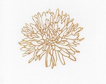 Gold Dahlia Flower 3 linocut woodblock printmaking art print 8 x 10
