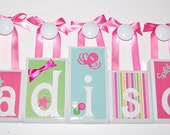 5 Letter Bright Stripes Mermaid Wood Blocks Name Set with Ribbon/Bow & Nail Cover to Hang