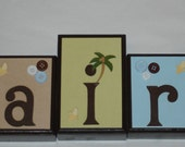 6 Letter Curly Tail Monkey Wood Name Block Set with Nail Hole to Hang