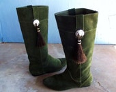 Vintage Suede Boots with Conchos and Horse Hair Tassles Tall boots Size 7 European 37 1/2
