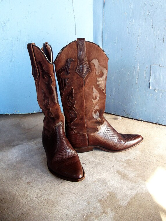 Vintage Chestnut  Cowboy Boots Leather and Suede with Stitching Size 7 1/2