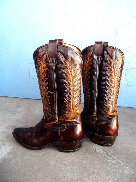 VTG Ox Blood and Rust Leather Cowboy Boots Stitched  Size 9-91/2 Women's