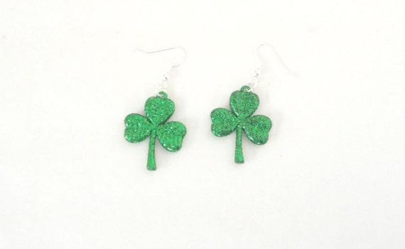 Glitter St. Patrick's Day Shamrock Charm Earrings