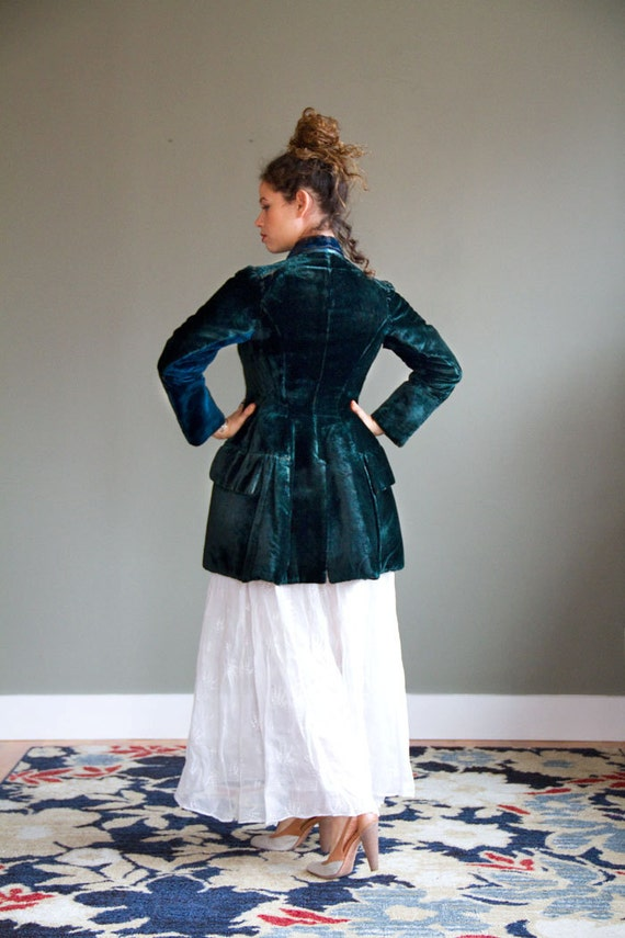 Reserved- DO Not Buy- Victorian Jacket with Luminescent Green Velvet