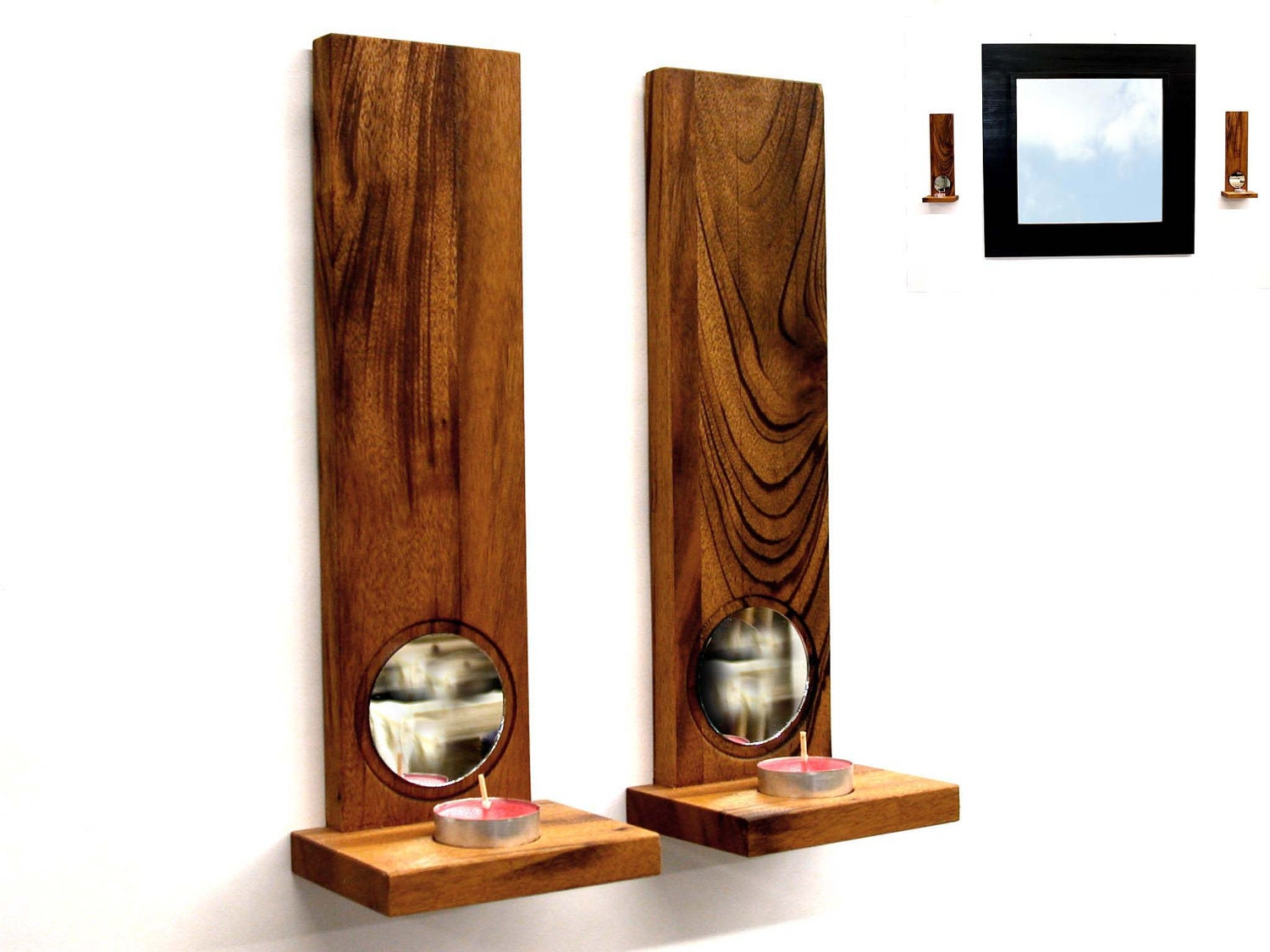 Wall Sconces Decor Ideas : Items similar to Wall sconces candle holder Art wall decor Tiger wood - duo candle holder tea ...