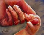 8X10 Print Holding a Newborn Child's Hand-  Painting