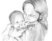 4X6 Print Jesus Holding a Newborn Child