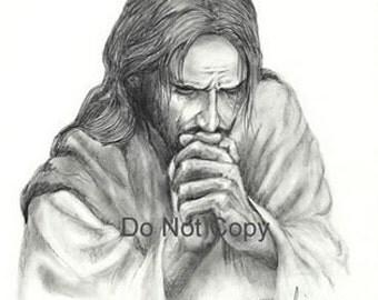 5X7 Print Jesus Praying