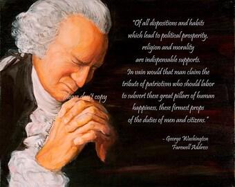 5X7 George Washington Praying - Morality Religion Prayer Quote and Painting