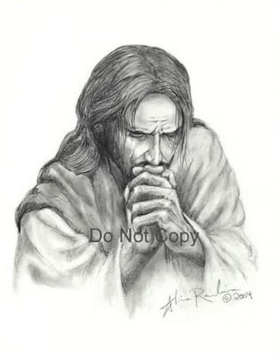Items Similar To 5X7 Print Jesus Praying On Etsy