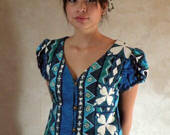 Blue Hawaiian Clover Maxi Dress  34b 30w Small