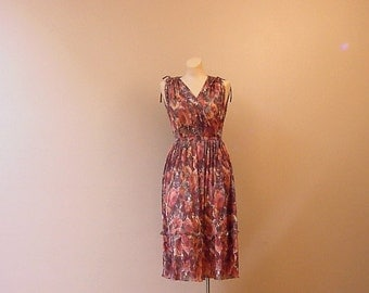 Garden Fresh Pleated Dress 70s Vintage Medium