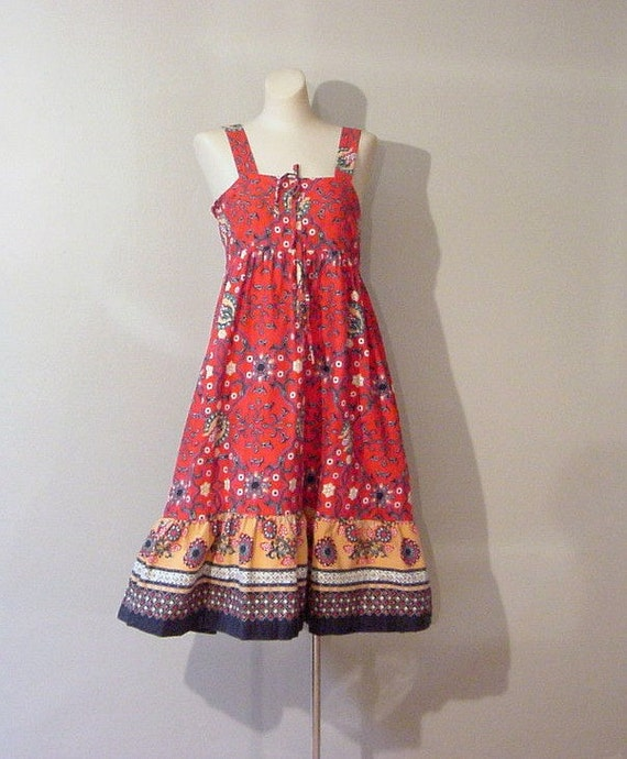 Bohemian Batik Summer Dress Small 70s Vintage
