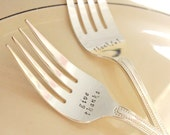 Hostess Gift Personalized Fall Thanksgiving Flatware Servingware Set of 2 Hand Stamped Large Meat Serving Forks Customized Turkey Ham Fork