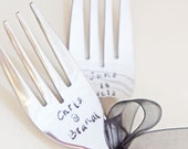 Personalized Wedding Forks - Custom Hand Stamped Keepsake Wedding Cake Forks Flatware - Wedding Bridal Shower Gift
