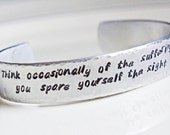 Custom Stamped Quote Cuff Bracelet - Personalized Silver Aluminum Adjustable Name or Quote Cuff Jewelry -  Animal Rights Support Quote
