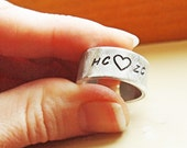Personalized Adjustable Silver Ring - Custom Hand Stamped Thick Aluminum Band Ring - Gift for Him or Her - Fathers Day Gift Anniversary
