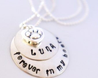 Personalized Pet Memorial Necklace Custom Hand Stamped Pet Loss Necklace In Memory of Cat or Dog Sterling Silver Name Jewelry