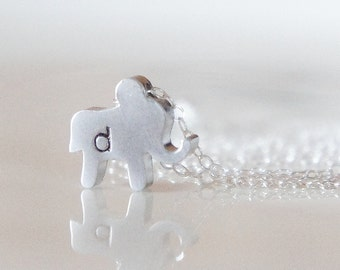 Custom Elephant Initial Necklace - Hand Stamped Elephant Charm Sterling Silver Chain - Mommy NecklaceMothers Day