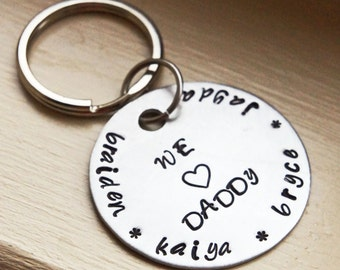 "Personalized Keychain - Custom Gift for Him - 1.5"" Aluminum round Hand Stamped Keychain - Father's Day"