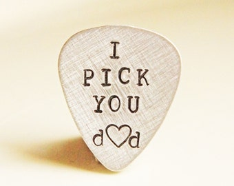 Personalized Guitar Pick - Aluminum Hand Stamped Custom Music Lovers Gift for Him - Fathers Day Gift