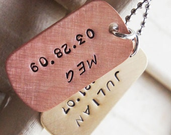 Personalized Dog Tag Necklace - Custom Mini Hand Stamped Dog Tag Necklace Long Stainless Steel Chain - Brass Copper Gift for Him Fathers Day