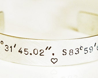 "Personalized Cuff Bracelet STERLING SILVER Latitude Longitude Hand Stamped 1/2"" Custom Coordinates Cuff Long Distance Love Anniversary Gift"