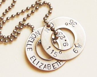 Coordinates Washer Necklace Personalized Double Disc Latitude Longitude Stainless Steel Location Long Distance Love Anniversary Wedding Gift