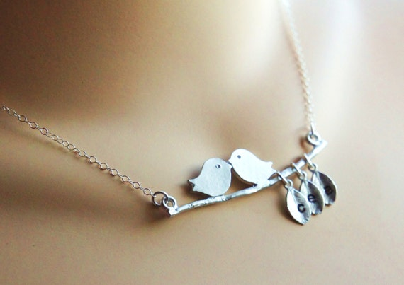 Personalized Mommy's Lovebirds Necklace Hand Stamped Sterling Silver Name Initial Necklace Kissing Birds Branch NecklaceMothers Day