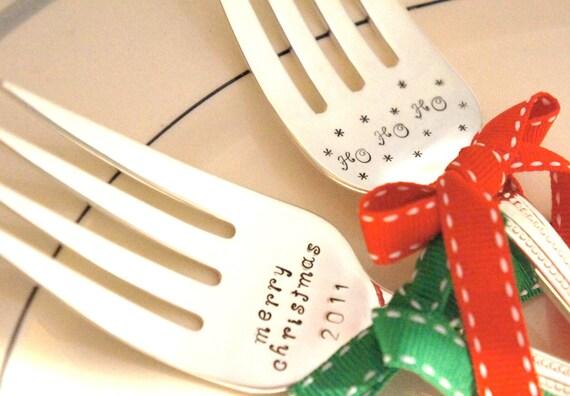 Hostess Gift Hand Stamped Christmas Keepsake Personalized Serving Forks Set of 2 Unique Heirloom Flatware Christmas Ham Turkey Serving Fork
