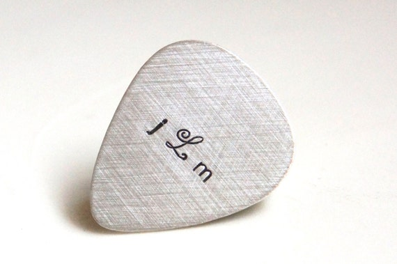 Custom Guitar Pick - Personalized Sterling Silver Hand Stamped Guitar Pick -  Music Lovers Gift for Him - Mens Gift