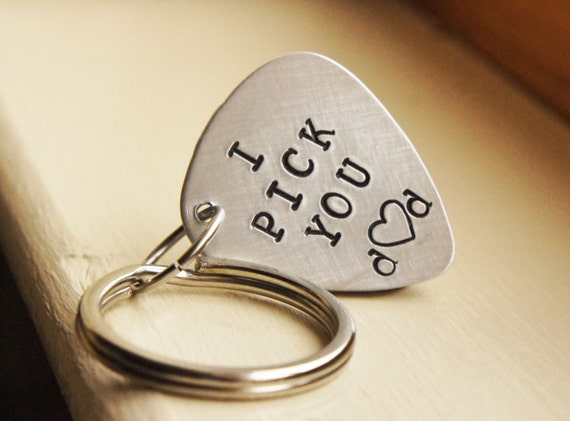 Custom Guitar Pick Keychain - Aluminum Personalized Pick - Customized music lovers Gift for Him - Valentines Day Grooms Gift