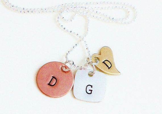 Custom Initial Mommy's Necklace - Personalized Tri Metal Mother's Necklace - Copper Sterling Brass Charm JewelryMothers Day