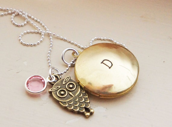 Personalized Locket Necklace - Custom Vintage Style Brass Initial Locket Owl Charm Birthstone Sterling Chain Mommy Jewelry Mothers Day Gift