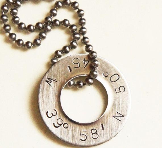 personalized latitude longitude necklace silver custom