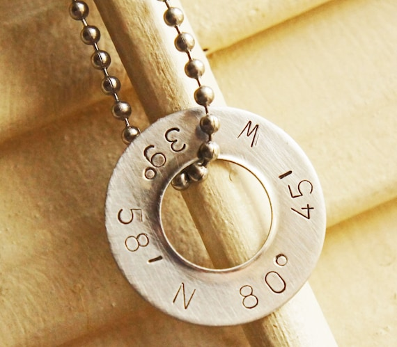 Personalized Coordinates Necklace - Silver Custom Washer Longitude Latitude Jewelry Stamped Long Distance Love Anniversary Gift