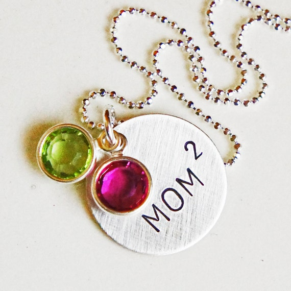 Personalized Mom Squared Necklace - Custom Hand Stamped Sterling Silver Birthstone Mommys Necklace - Mom to Two Mothers JewelryMothers Day