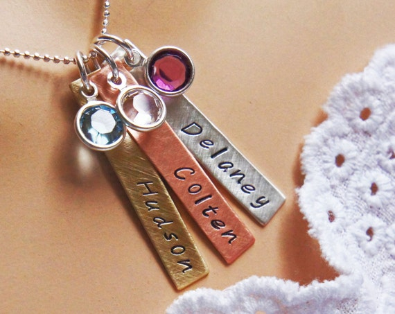 Personalized Birthstone Mommys Necklace - Hand Stamped Copper Brass Sterling Silver Name Necklace - Gift for MomMothers Day