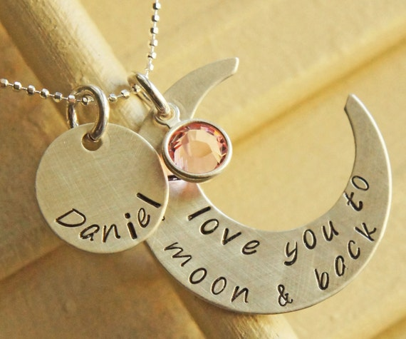 I Love You To The Moon and Back - Personalized Mommy's Necklace Birthstone Hand Stamped Sterling Silver Custom Jewelry Gift for Mom