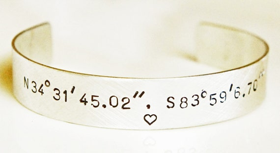 """Personalized Cuff Bracelet STERLING SILVER Latitude Longitude Hand Stamped 1/2"""" Custom Coordinates Cuff Long Distance Love Anniversary Gift"""